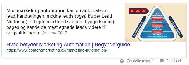 featured snippet i søgeresultaterne