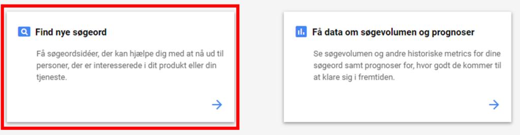 google søgeordsværktøj - søgeordsplanlægning
