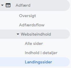 landingssider i analytics